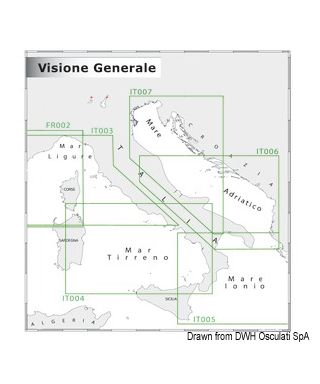 Carte Navimap IT004-IT005 De Fiumicino à R. Calabria avec Sardaigne E, Sicile N