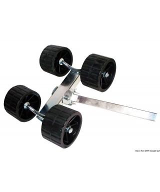 Rouleau pivotant 4 rouleaux rehaussé Tube carré 40mm rouleaux 120mm