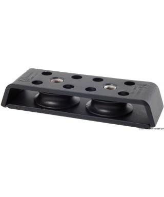 Renvoi en aluminium anodisé 2 poulies pour écoutes jusqu'à 10mm