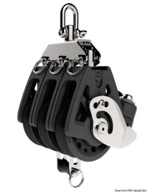 Réa triple avec ringot et coinceur Synchro 72mm pour bouts 10-12mm charge maxi 1100Kg