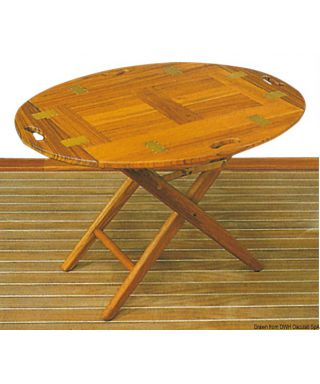 Table de transport teck 85x60x53 cm peut servir de plateau