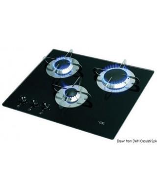 Plan cuisson à gaz 3 feux 505 x 410 mm verre en cristal