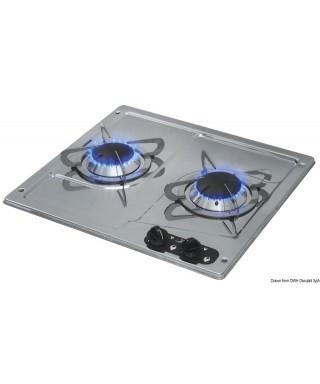 Plaque cuisson inox à encastrer 2 feux 380x360 mm
