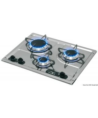 Plaque cuisson inox à encastrer 3 feux 470x360 mm