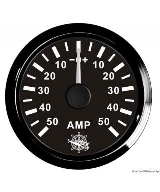 Ampèremètre avec shunt 50 A Cadran noir lunette noire 51mm