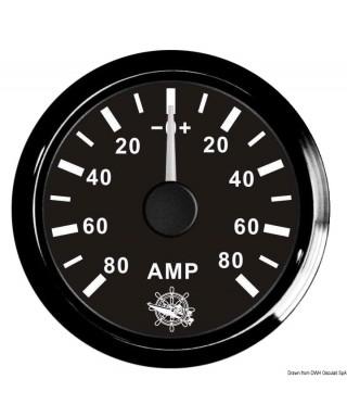 Ampèremètre avec shunt 80 A Cadran noir lunette noire 51mm