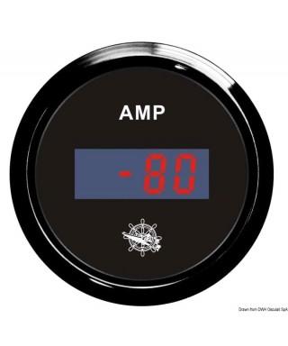 Ampèremètre numérique Cadran noir lunette noire 51mm