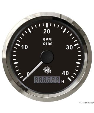 Compte-tours 0-3000 tpm Cadran noir lunette polie 85mm