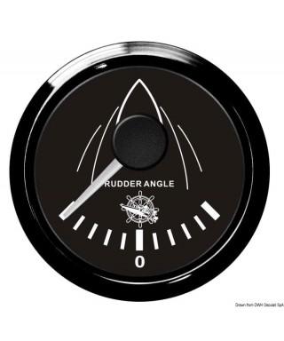 Indicateur angle de barre Cadran noir lunette noire 51mm