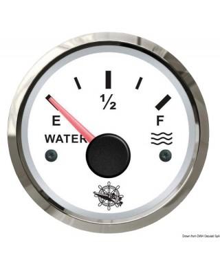 Jauge d'eau 10-180 Ohm Cadran blanc lunette polie 51mm