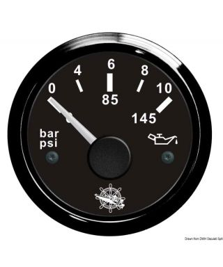 Indicateur pression de l'huile 0/10 bar Cadran noir lunette noire 51mm