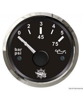 Indicateur pression de l'huile 0/5 bar Cadran noir lunette polie 51mm
