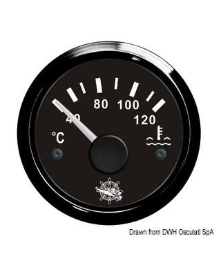 Jauge de température d'eau 40/120° Cadran noir lunette noire 51mm