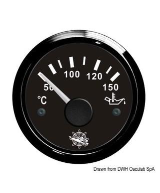 Jauge de température d'huile 50/150° Cadran noir lunette noire 51mm