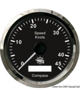 Indicateur de vitesse avec compas GPS Cadran noir lunette polie 85mm
