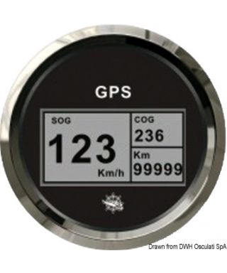 Indicateur vitesse compas totalisateur GPS Cadran noir lunette polie 85mm