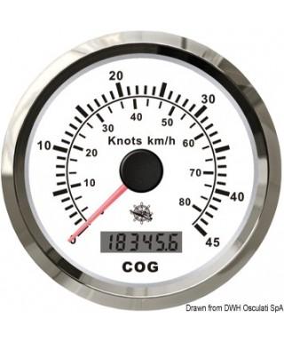 Indicateur de vitesse avec compas GPS Cadran blanc lunette polie 85mm