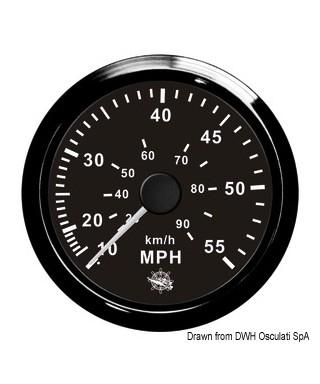 Indicateur de vitesse Pitot 0-55 MPH Cadran noir lunette noire 85mm