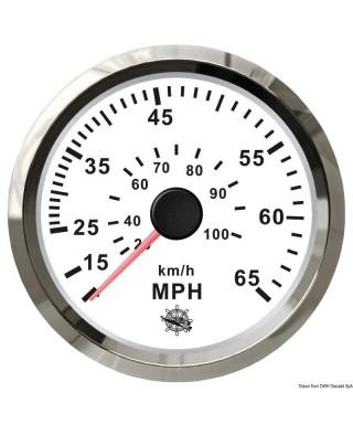 Indicateur de vitesse Pitot 0-35 MPH Cadran blanc lunette polie 85mm