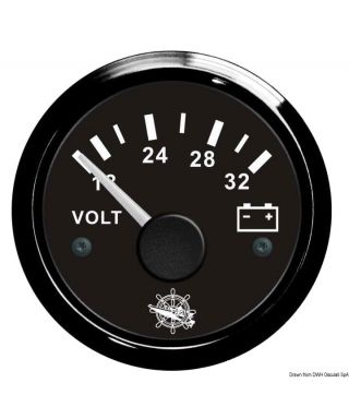Voltmètre 18/32 V Cadran noir lunette noire 51mm