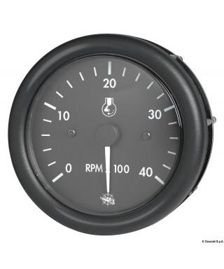 Compte-tours Guardian diesel 0-4000 RPM 12V Cadran noir lunette noire