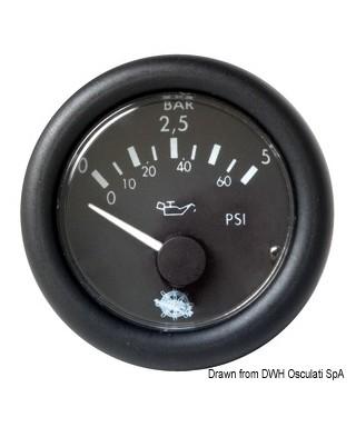 Indicateur pression huile Guardian 0-10bar 24V Cadran noir frette noire