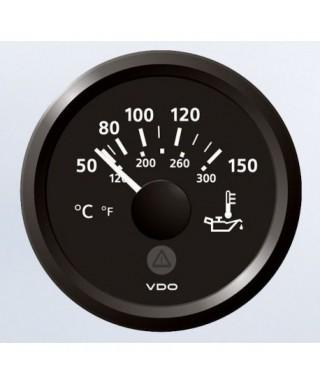 Thermomètre huile noir 50/150°C + 120/300° F 12/24V 52mm