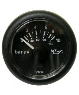 Indicateur pression huile noir 10 bar/150 psi 12/24V 52mm