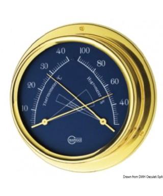 Hygro-thermomètre cadran bleu Barigo Regatta Laiton poli 100mm